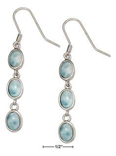 Sterling Silver Triple Oval Link Larimar Earrings