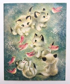 Oh so sweet! Tiny little Siamese kittens playing with a shiny silver garland.Signed inside and is in excellent vintage condition. Cat Christmas Cards, Retro Christmas, Vintage Christmas Cards, Vintage Holiday, Christmas Time, Christmas Things, Vintage Greeting Cards, Vintage Ephemera, Bunny Party