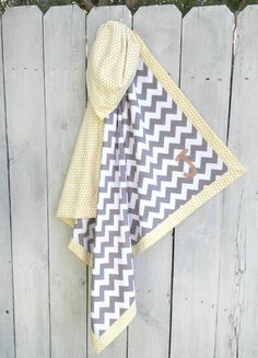 Personalized Baby Blanket Chevron Gray and by MamaJamaQuilts