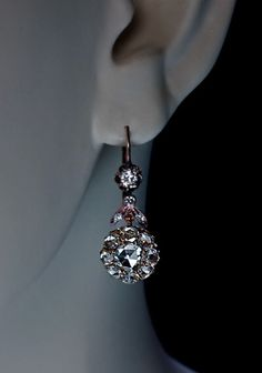 Antique Rose Cut Diamond Gold Dangle Earrings late 1800s Victorian Jewelry by RomanovRussiacom on Etsy https://www.etsy.com/listing/211667994/antique-rose-cut-diamond-gold-dangle