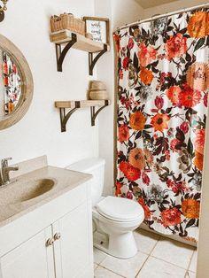 Colorful Shower Curtain, Bathroom Shower Design, Floral Bathroom, Fall Bathroom Decor, Peach Bathroom, Bathroom Decorating Shower Curtain, Restroom Decor, Bathroom Shower Curtains, Blue Bathroom Decor