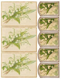Printable lily-of-the-valley postcards, tags, stationery, etc.