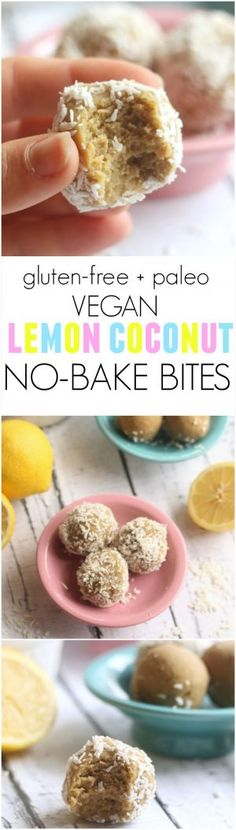 Lemon Coconut No-Bake Bites…these quick and easy treats taste like lemon cake! Made with coconut flour, they're gluten-free, vegan, paleo, and kid-friendly. Hummusapien.com