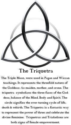 The Triquetra: The Triple Moon is used in Pagan and Wiccan teachings. It represents the threefold nature of the Goddess: As maiden, mother and crone. The Triquetra symbolizes the three faces of the Goddess, balance of the Mind, Body and Spirit. The circle signifies the ever-turning cycle of life, death and rebirth. #wicca