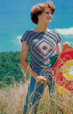 Retro Granny Square Boho Style Summer Top PDF Crochet Pattern