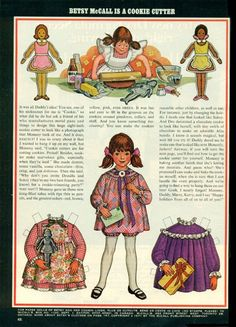 Vintage December 1971 Magazine Paper Doll Betsy McCall is a Cookie Cutter