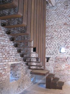 A staircase in Carlo Scarpa's addition to the Castelvecchio Museum in Verona