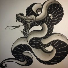 The traditional snake tattoo designs are diverse as their meanings are. Here are a few traditional Japanese snake tattoo designs worth considering. Diy Tattoo, Tattoo Oma, Japan Tattoo, Tatoo Art, Traditional Snake Tattoo, Traditional Japanese Tattoos, Snake Drawing, Snake Art, Tattoo Sketches