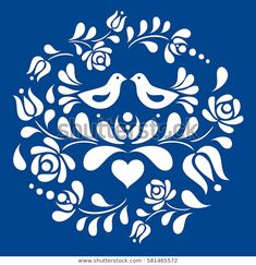 Stencil Patterns, Stencil Designs, Pattern Art, Folk Art Flowers, Flower Art, Pintura Tole, Mundo Hippie, Vogel Quilt, Mandala