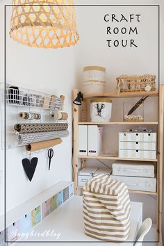 Craft room tour in a small attic space with creative storage solutions Come tour my new craft room. It is a small space up in the attic so I had to get creative with finding storage solutions. Check out my craft room organization ideas. Sewing Room Design, Sewing Room Storage, Sewing Room Organization, Craft Room Storage, Attic Storage, Sewing Studio, Small Sewing Rooms, Small Craft Rooms, Attic Craft Rooms