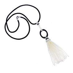 Ivanka Trump Tassel Collection 18K White Gold Seed Pearl, Black Onyx & Diamond Tassel Necklace
