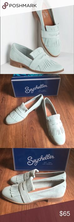 Seychelles Stray Fringe Loafers Gorgeous loafers from Seychelles in a beautiful mint green. Leather upper and lining. Man made soles. Comes with box! Anthropologie Shoes Flats & Loafers