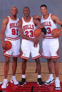 The Trio!  THE best basketball player ever: Michael Jordan, Scottie Pippen and the best defensive player/rebounder ever, Dennis Rodman, all of the CHICAGO BULLS