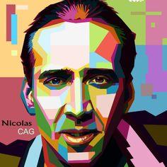 Nicolas Cage #wpap #art #artwork #wedhaspopartportrait #ilustrasi #design by #photoshop #nesti #worker# color #hollywood #nicolascage