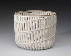 Artist: Malene  Müllertz, Title: White Spiral Basket - click on image to enlarge