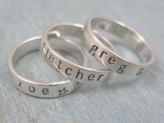 Right Hand Rings  Since hubby's claimed your left hand, let the kids have your right with these sterling silver, stackable rings. You can even pick symbols, like a star or an anchor, to represent each child's unique personality. ($26 at Tiny Token Designs)