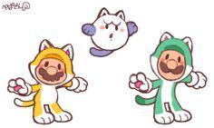 Cat Luigi, Cat Boo and Cat Mario.