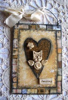 love this altered art design #owl #heart