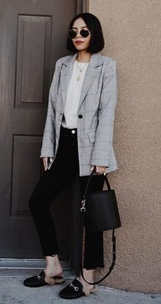 outfit of the day | plaid blazer + top + bag + skinnies + loafers