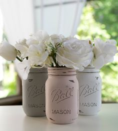 I have a blue vase that I want to change up.  This just might work.  How To Paint and Distress Mason Jars - It All Started With Paint