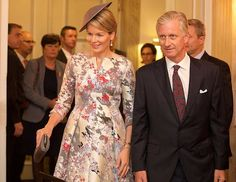 Queen Mathilde and King Philippe of Belgium attend the opening of the Dutch-Flemish pavilion, on the eve of the official kick-off of the Book Fair on October 18, 2016 in Frankfurt, Germany. Belgian and Dutch Royals are the oficial guest of this year's edition.