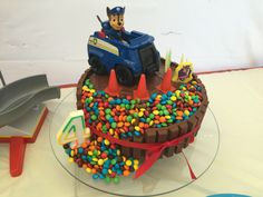 My 4 year old's Paw patrol birthday party kit Kat cake with Chase.                                                                                                                                                                                 More
