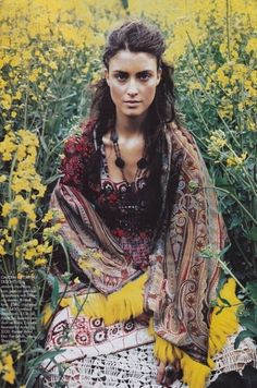 Bohemian...pinning for the setting, in a field of flowers.