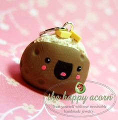 HAPPY BAKED POTATO Charm  Kawaii Polymer Clay by TheHappyAcorn, $16.00