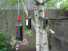 Recycled Wine Bottle Planter by crystalbeaddesigns on Etsy