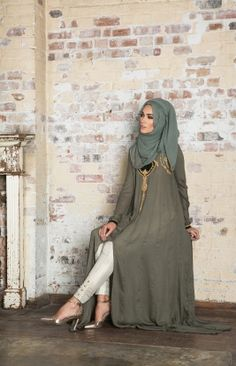 KABANOKI ABAYA - A fine ensemble of 24 intricately cut panels joined beautifully together with exquisite embroidery and finished with silk velvet. Pair with Aab's Ivory Brocade Trousers & Sage Chiffon Hijab for the perfect finish.