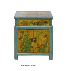 Chinese Blue & Yellow End Table w Flower Birds Graphic - Golden Lotus Antiques