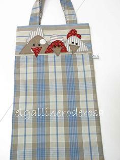 Nueva bolsa para el pan, en tonos azules y marrones.