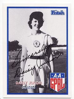Daisy Junor, member of the All-American Girls Professional Baseball League. She played with the Ft. Wayne Daisies, South Bend Blue Sox, and the Springfield Sallies over a four year period (1946-1949). Ms. Junor died at the age of 92. (Image courtesy of sportsartifacts.com) http://dailyob.it/DJunor