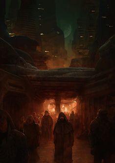 Marc Simonetti - Interior illustration for Dune Messiah by Frank Herbert for Centipede Press Arte Sci Fi, Sci Fi Art, Dune Series, Dune Frank Herbert, Dune Art, Denis Villeneuve, Fantasy Setting, Roman, Environment Concept Art