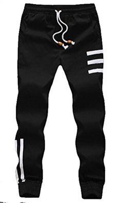 Myncoo Men's Skinny Cotton Jogger Pants Drastring Sweatpants Black
