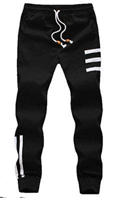 Myncoo Men's Skinny Cotton Jogger Pants Drastring Sweatpants Black