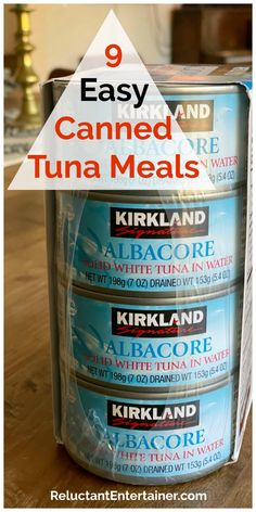 Canned tuna is a time-saving pantry meat, perfect for 9 Easy Canned Tuna Meals. Here are 9 canned tuna recipes we have been making for years. Easy Tuna Recipes, Canned Tuna Recipes, Tuna Casserole Recipes, Canned Meat, Canned Chicken, Fish Recipes, Seafood Recipes, Chicken Recipes, Chicken Salad