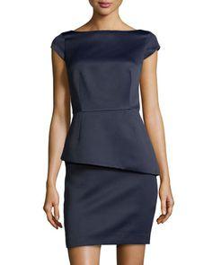 Satin Cap-Sleeve Peplum Dress, Navy by Halston Heritage at Neiman Marcus.