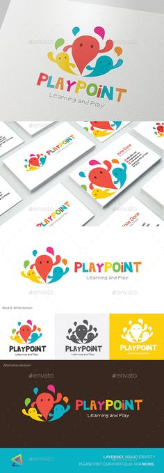 Kids Logo - Play Point by LayerSky Logo Template Scalable Vector Files Everything is editable Everything is resizable Easy to edit color / text Free fon Kindergarten Logo, Logo Inspiration, Logo Branding, Branding Design, Ri Happy, Logo Luxury, Toys Logo, Logos Ideas, Typographie Logo