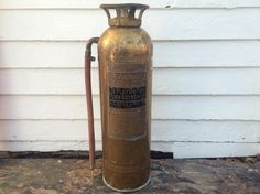 rustic brass fire extinguisher  antique fire by BlueRoverVintage