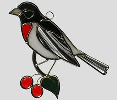 Stained Glass Rose-Breasted Grosbeak
