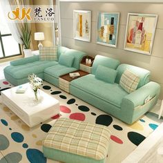luxury living room furniture modern L shaped fabric corner sectional sofa set design couches for living room green blue color Corner Sofa Design, Living Room Sofa Design, Home Room Design, Living Room Interior, Living Room Furniture, Living Room Designs, Living Room Decor, Sofa Furniture, Living Room Ideas Villa