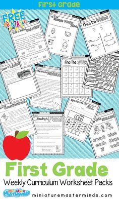 First Grade Home School Curriculum Printable Book Week One ⋆.- First Grade Home School Curriculum Printable Book Week One ⋆ Miniature Masterminds First Grade Home School Curriculum Printable Book - First Grade Curriculum, Free Homeschool Curriculum, First Grade Lessons, First Grade Worksheets, First Grade Activities, Teaching First Grade, First Grade Reading, First Grade Math, School Lessons