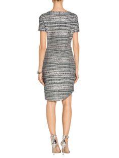 Lacquered Metallic Ribbon Knit Short Sleeve Dress