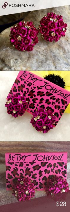 BETSEY JOHNSON burgundy roses & rhinestones studs These gorgeous stud earrings by Betsey Johnson feature beautiful burgundy/fuschia roses with champagne rhinestones and a comfortable lever clip back. Brand new, also available in gold, blue and silver. Betsey Johnson Jewelry Earrings