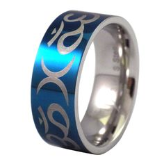 Size 4 to 13 6MM, 8MM Blue IP Titanium Maltese Cross Dome Engraved Ring
