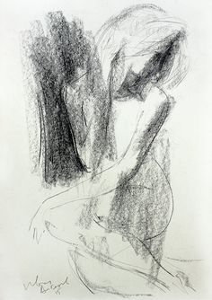 """Woman sketch, Giclee art print, Artistic Nude drawing, Modern Wall decor, Figurative art. """"Vulnerable"""" Giclee art print of original mixed media drawing made by Ivan Angelov. You can choose from variety of sizes. High quality art prints represent the original artworks perfectly and when framed they look amazing. It's an easy and inexpensive way to decorate your home or office with quality art! - Printed on high quality """"Hahnemuhle"""" fine art paper with archival inks. It has a white border…"""