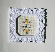 Framed cross stitch by aliciawatkins...Psych! & the pineapples!!!! Love this!