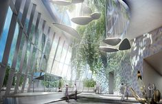 Futuristic Architecture Discover coop himmelb(l)au releases images of flying garden tower frankfurt coop himmelb(l)au releases images of flying garden tower frankfurt Architecture Design, Green Architecture, Futuristic Architecture, Building Architecture, Classical Architecture, Building Design, Mall Design, Lobby Design, Interior Rendering