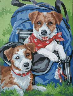Paint by Number, Vintage Painting, Parson Russell Terriers, Two Puppies in a Backpack, Terrier Puppies, Retro Art, Red Bandana, Dog Art on Etsy, $30.00
